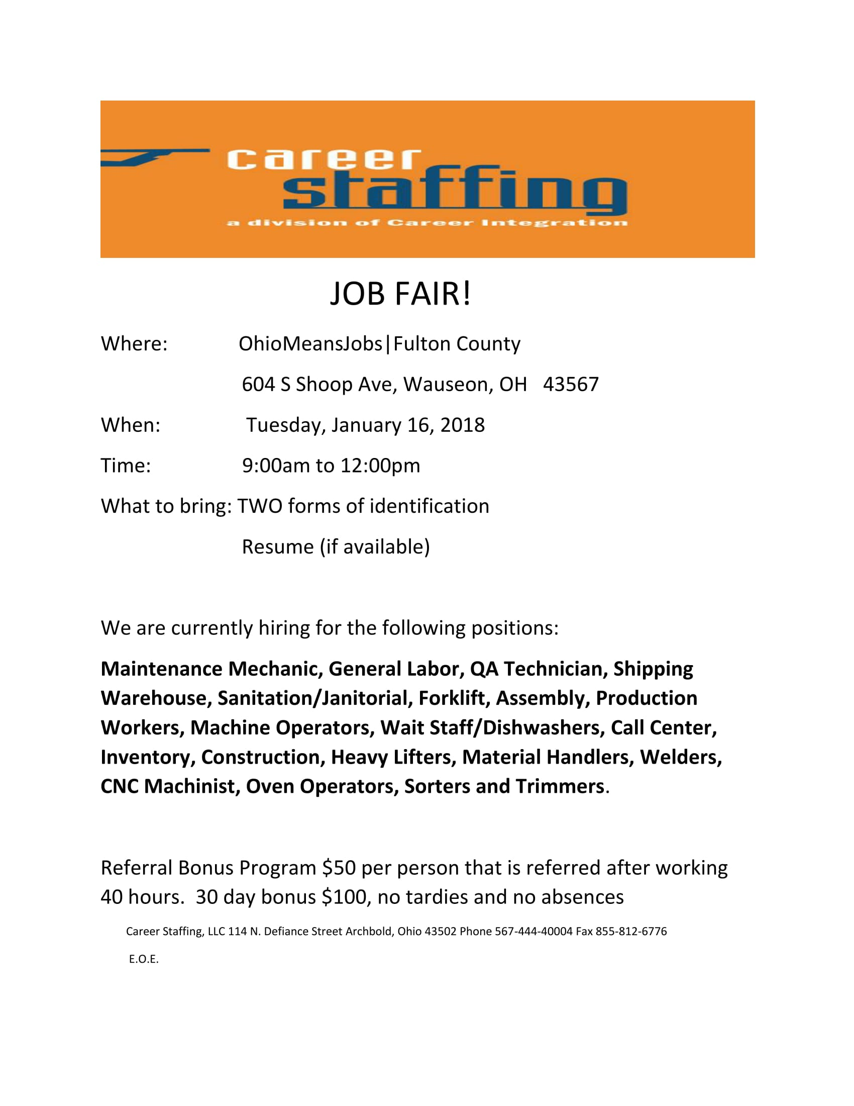 Career Staffing Job Fair