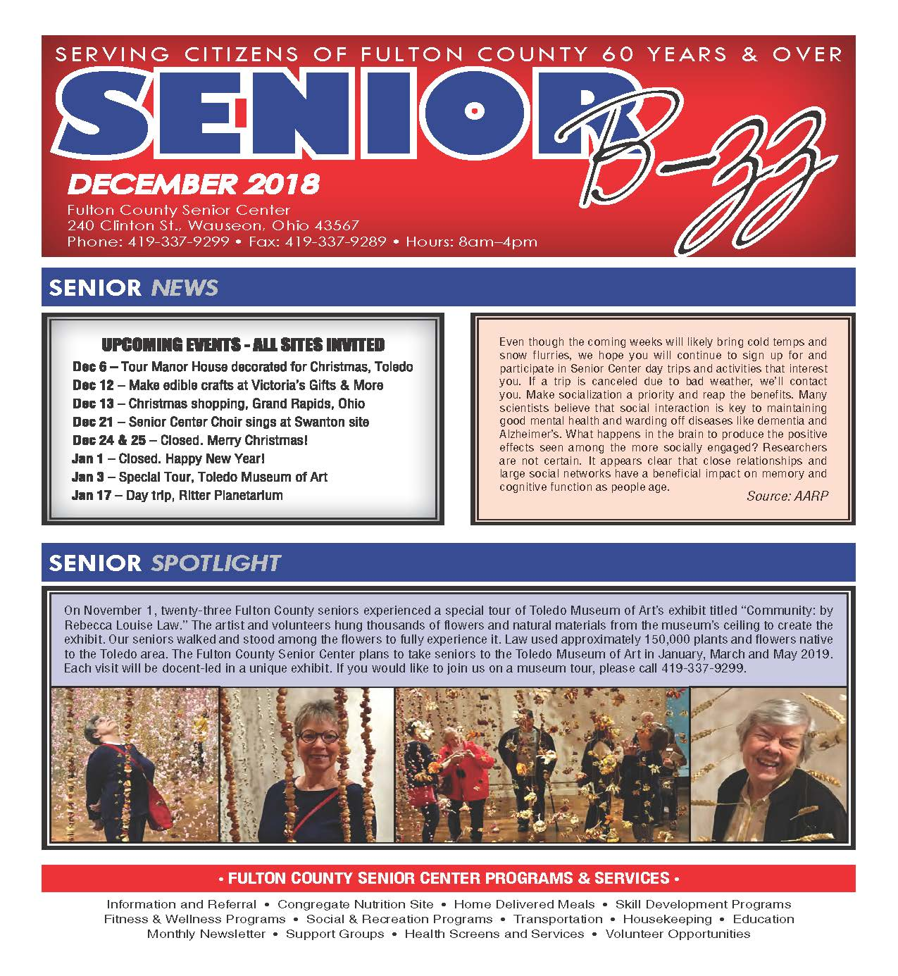 Front Page of the December 2018 Senior B-zz