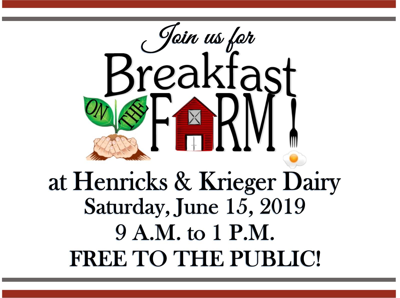 join us for breakfast on the farm 2019 at henricks & krieger dairy