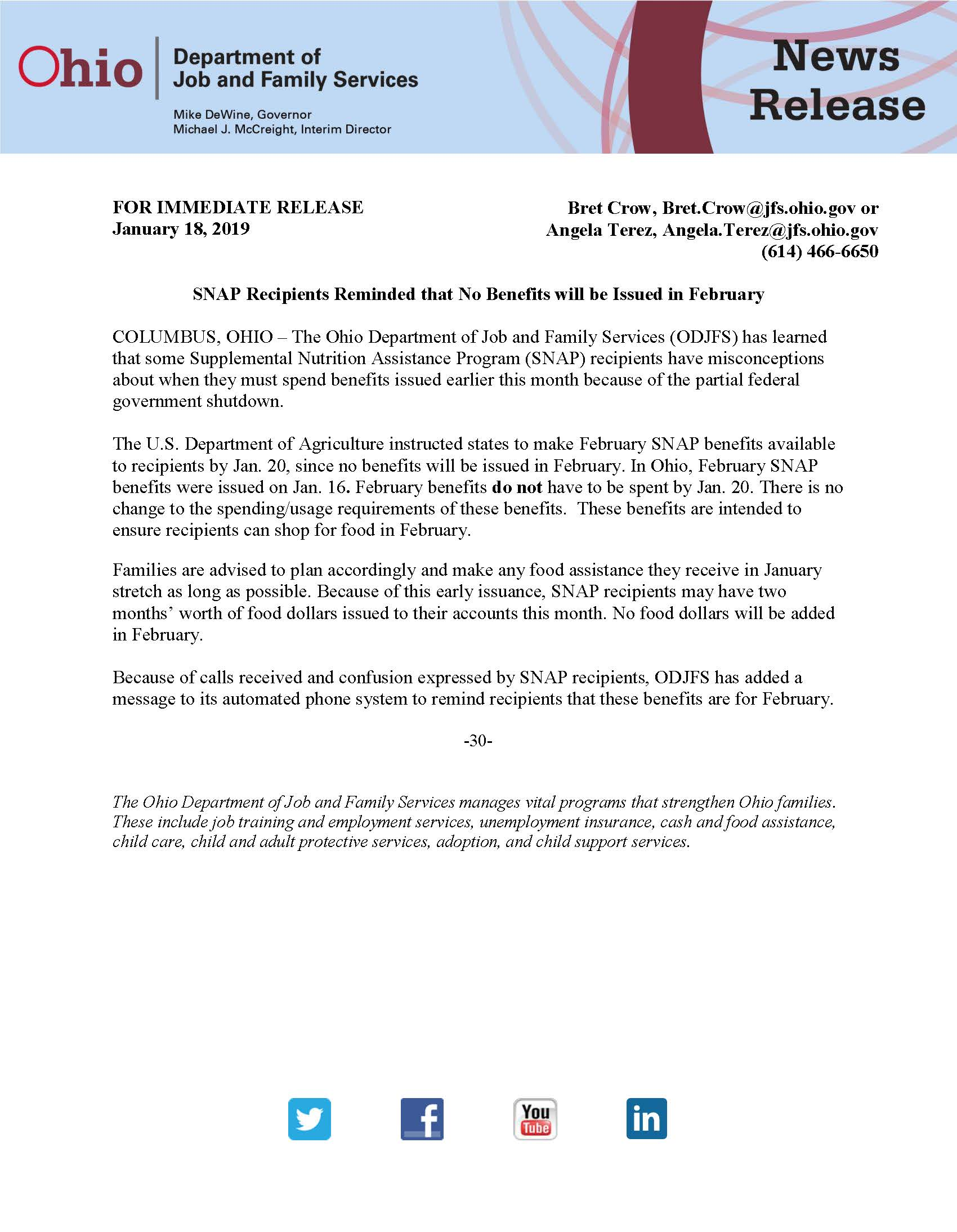 SNAP Benefits Reminder Press Release from Ohio Job and Family Services