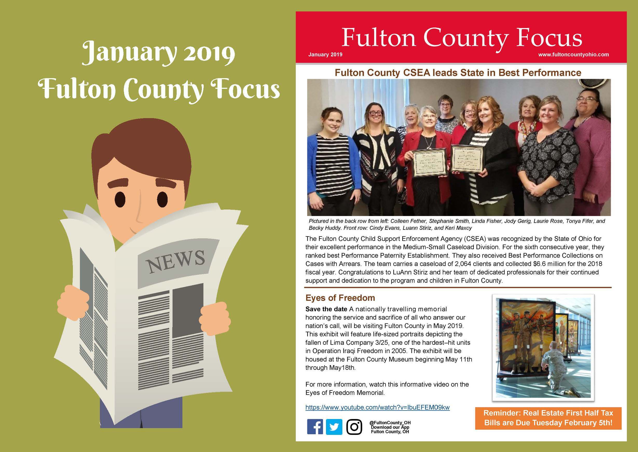 Website images promoting the Fulton County Focus January 2019 Edition
