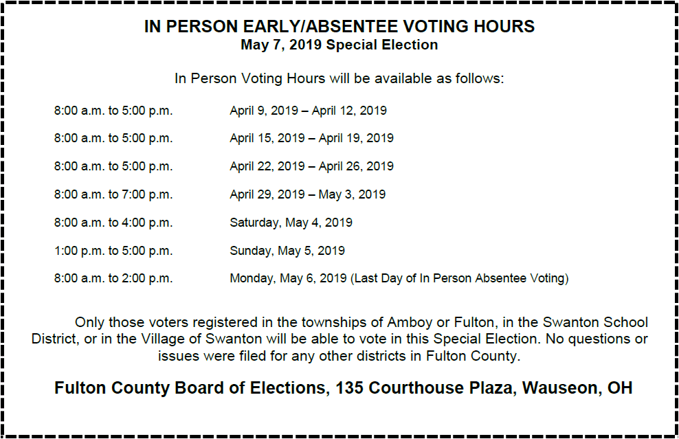 Absentee Hours for 5/7/2019