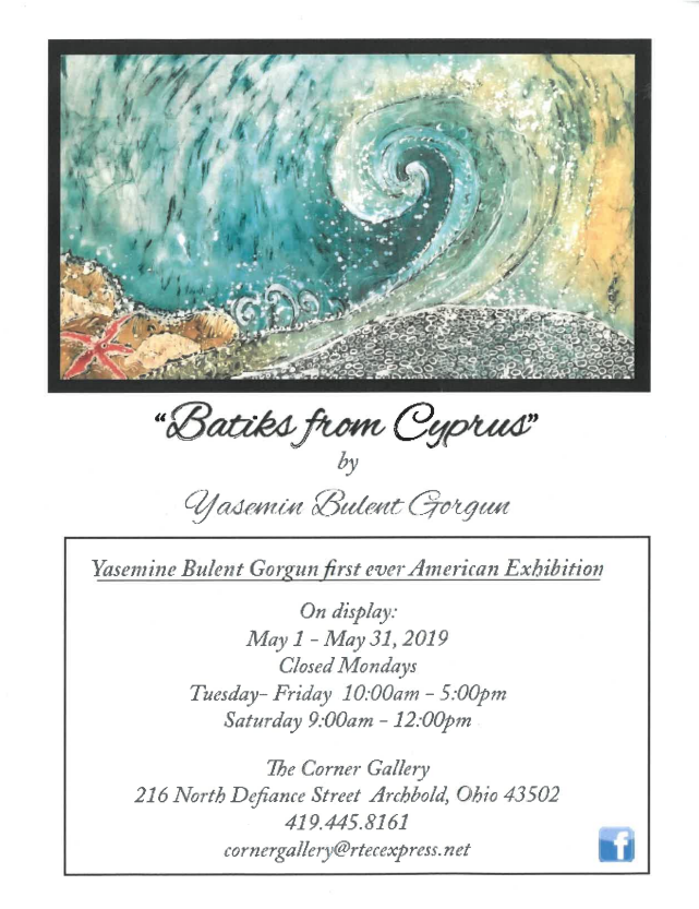 Beautiful Batik art exhibit displayed at The Corner Gallery, downtown Archbold through May 31st.