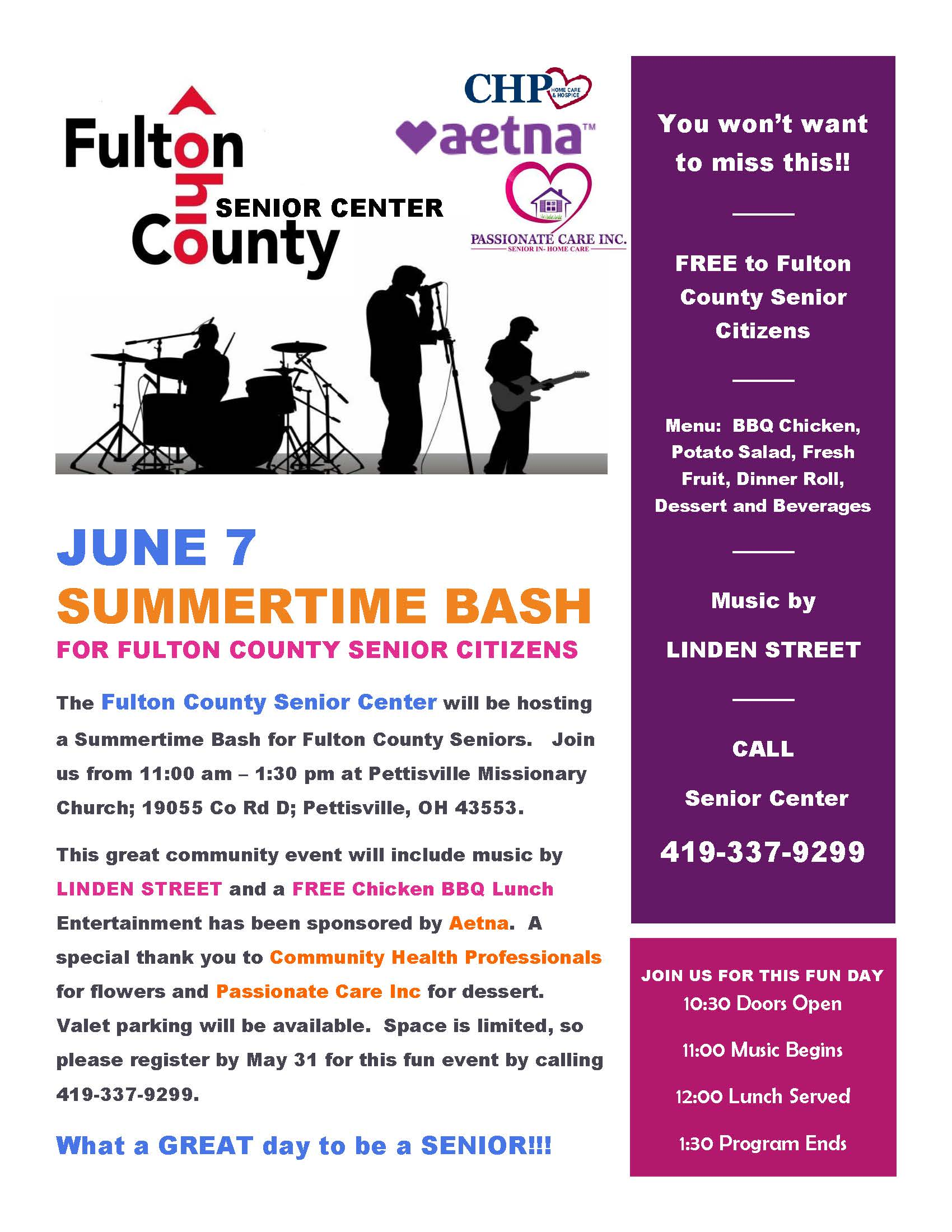 Fulton County Senior Center Summertime Bash June 7th, 2019 Flyer