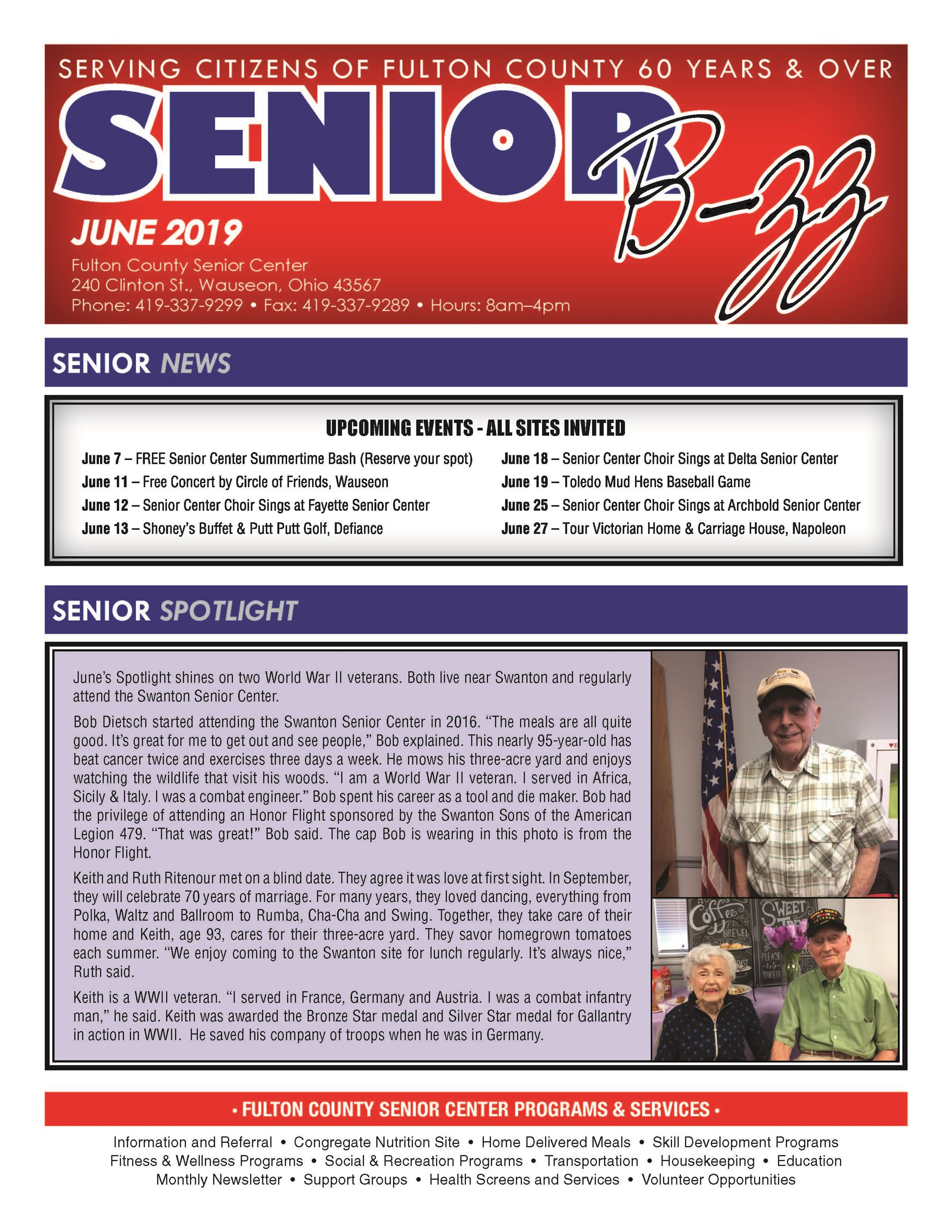 Front Page of June 2019 Senior Buzz
