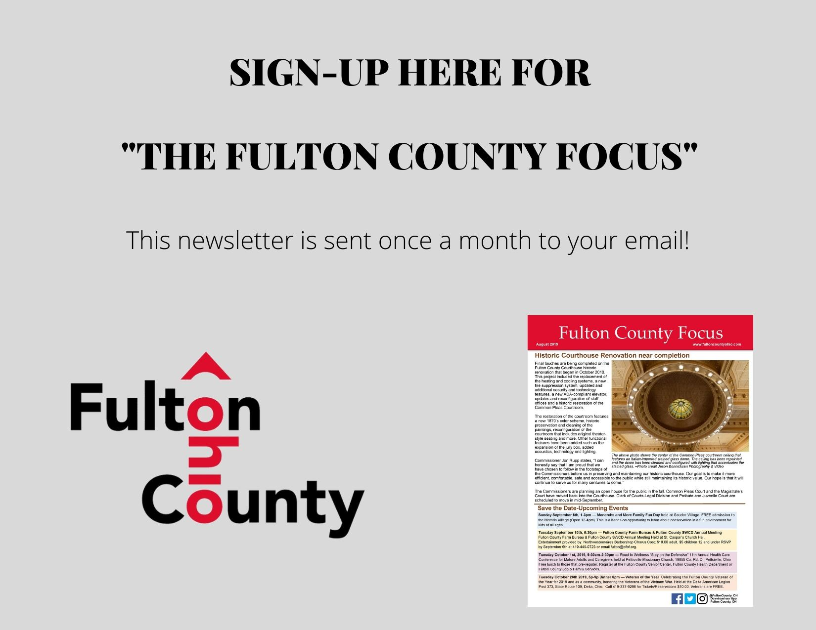 Sign up for Focus Newsletter Dec 2019