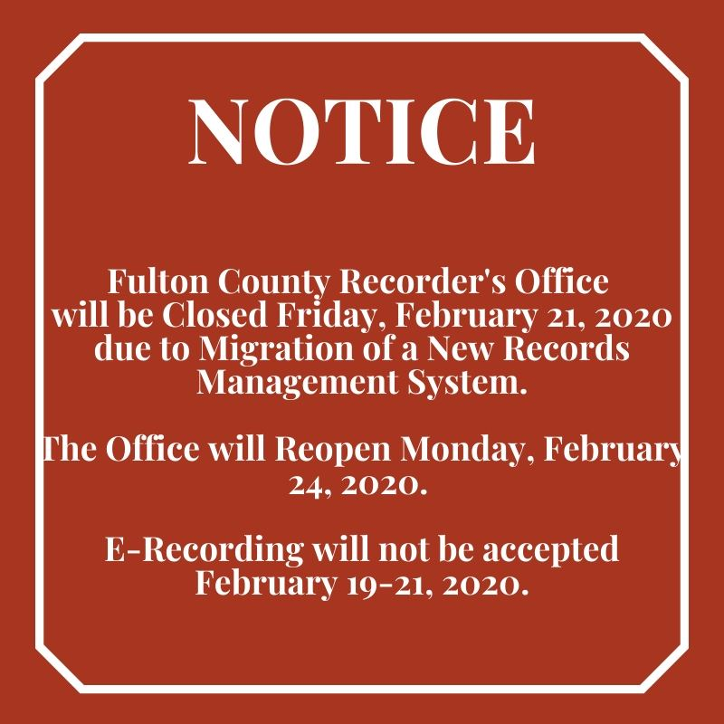 Notice Closing Recorders Office