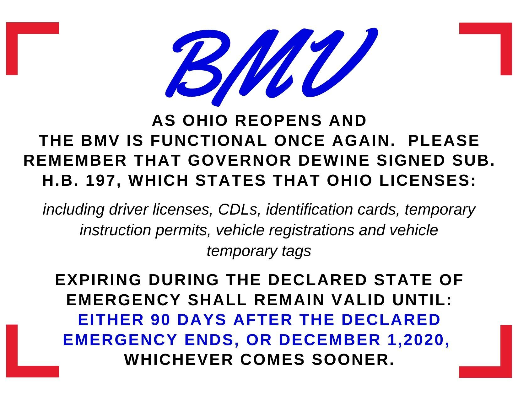 BMV Reopens