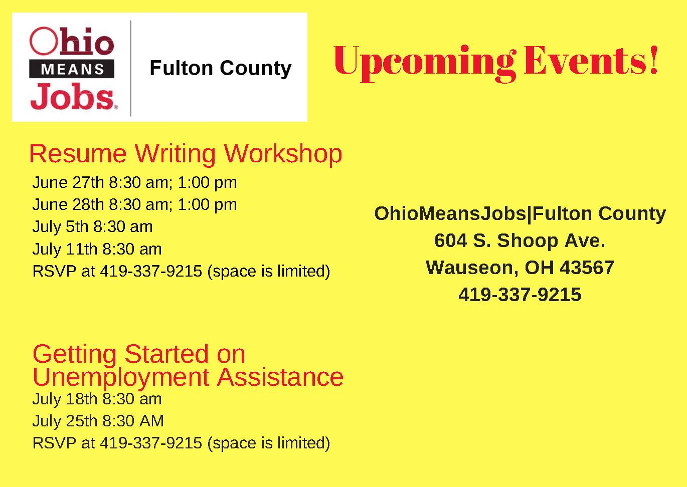 Resume Writing Workshops and Getting Started on Unemployment Assistance Flyer