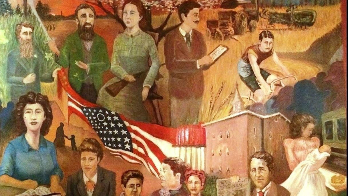 Museum of Fulton County mural depicting 12 famous Fulton County people representing 12 townships.