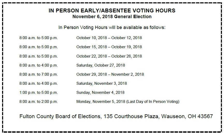 early voting hours 11-6-18