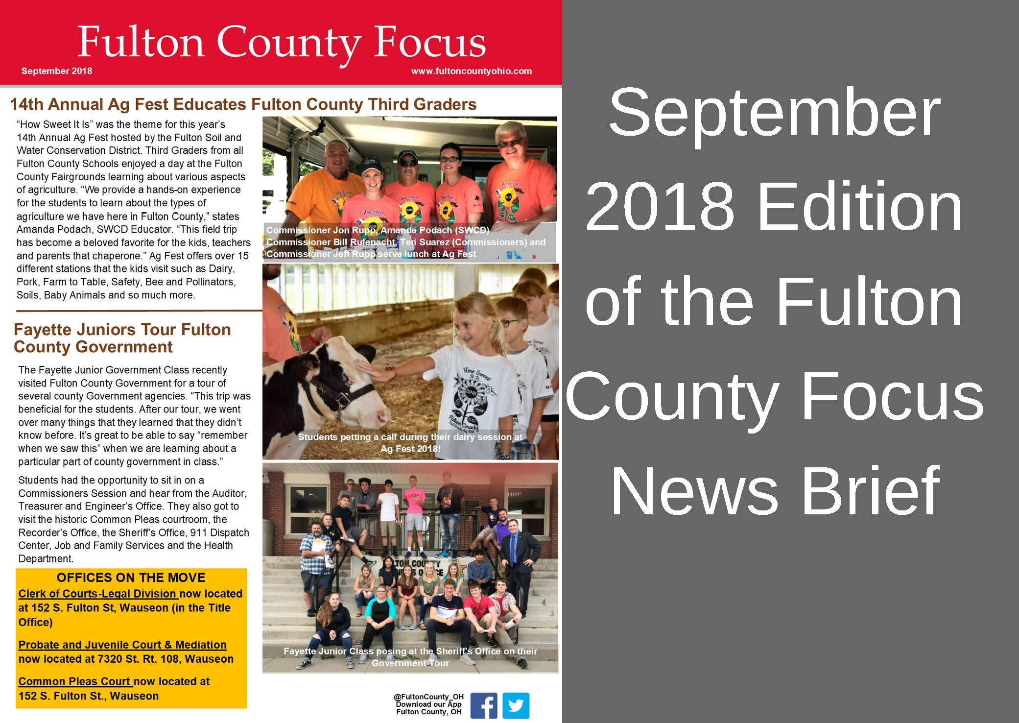 September 2018 Edition of the Fulton County Focus News Brief