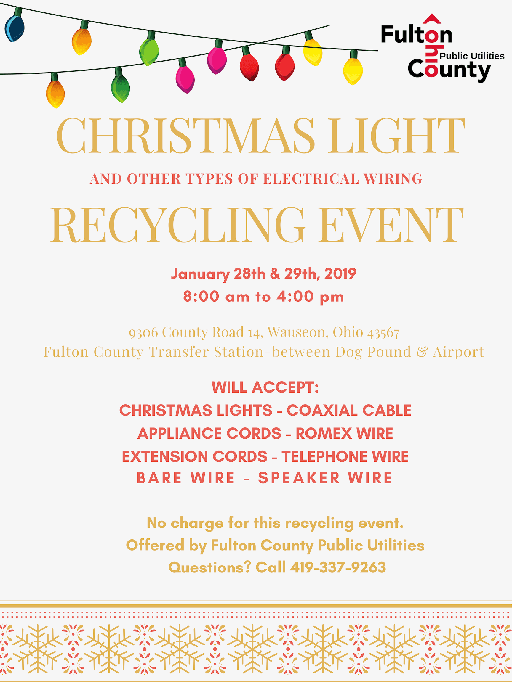 January Christmas Light Recycling Event