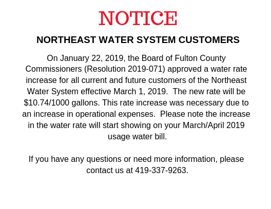 Public Utilities Northeast Water System Customers Notice of rate increase $10.74/1000 gallons