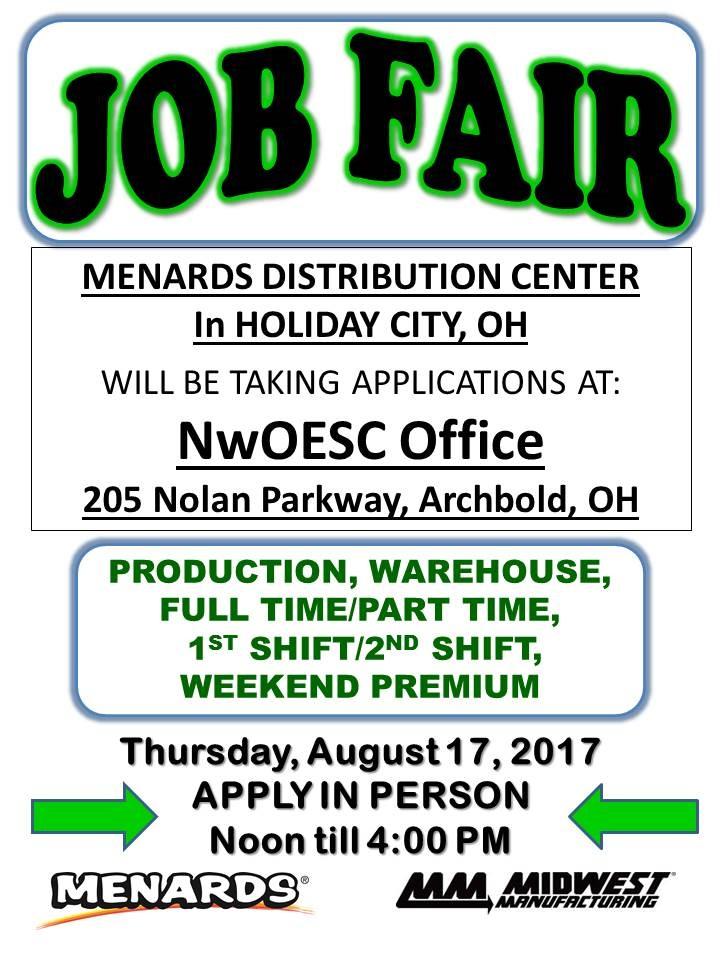Menards job fair 2019
